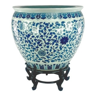 Ming Dynasty Style Blue White Giant Fish Bowl For Sale