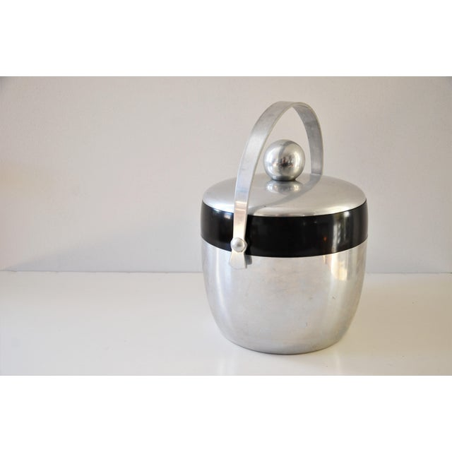 1950s Vintage Spun Aluminium and Bakelite Ice Bucket by Kromex For Sale - Image 4 of 9