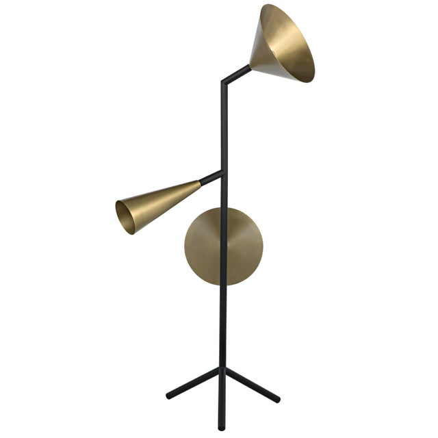 Contemporary Strato Floor Lamp, Black Metal and Brass Finish For Sale - Image 3 of 7