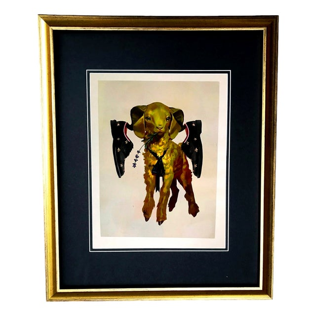 1b4ce7614a97 Green Framed Gucci Gold Lamb   Sheep Bee Shoes Illustration Art For Sale -  Image 8