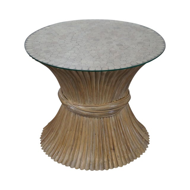 McGuire Style Rattan Wheat Sheaf Glass Top Side Table For Sale