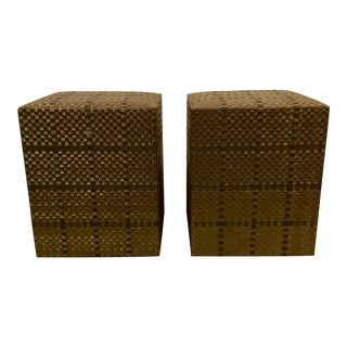 Global Views Modern Weave Stools - a Pair