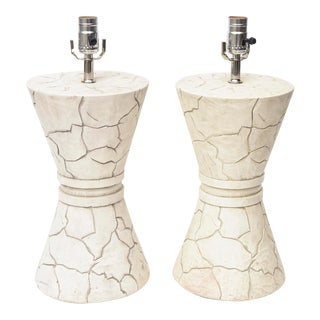 Organic Modern Ceramic Lamps - a Pair For Sale