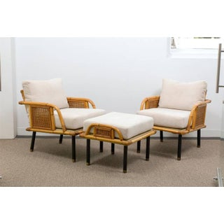 Unique Pair of Modern Rattan and Cane Lounge Chairs by Ficks Reed, Circa 1950 Preview