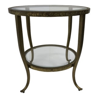 Vintage Hollywood Regency Gold Two Tiered Accent Table With Glass Top For Sale