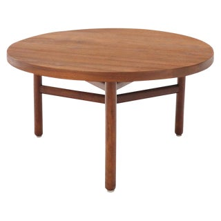 Thick Solid Teak Top Round Coffee Center Table For Sale