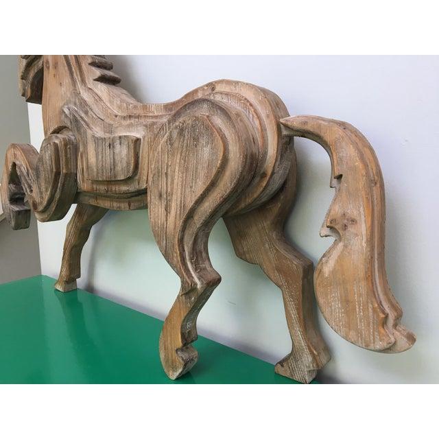 Large Monumental Modernist Sculptural Wood Horse Statue - Image 5 of 6