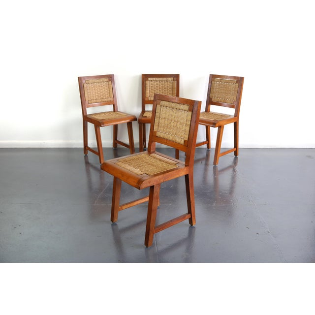 Mid-Century Modern Articulate Woven Mid Century Dining Set in Teak With Glass Top Table For Sale - Image 3 of 9
