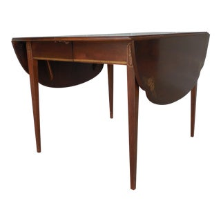 L. Hitchcock Black/Cherry Cloverleaf Dining Extension Table For Sale