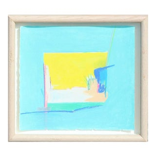 """Late 20th Century Rita Blasser """"Canyon Suite One"""" Abstract Blue and Yellow Palo Duro Texas Landscape Painting For Sale"""