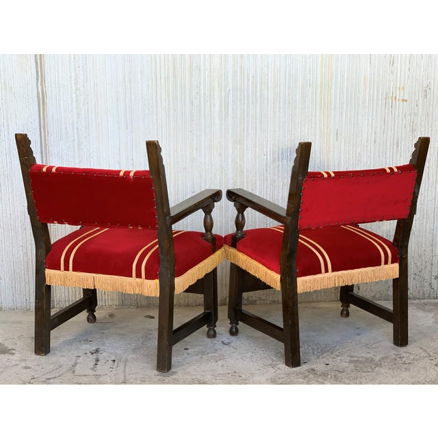 19th Set of Six Spanish Low Armchairs in Carved Walnut and Red Velvet Upholstery For Sale - Image 4 of 12