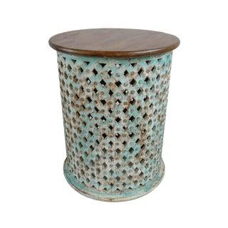 Basket Weave Wood Side Table For Sale