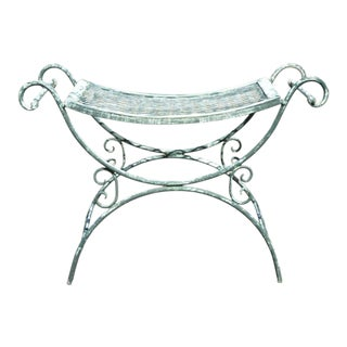 Vintage Wrought Iron Curule Mesh Bench Mid Century Green White Hollywood Regency For Sale