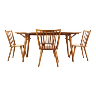 1960s Mid Century Modern Conant Ball Spindle Dining Set- 5 Pieces For Sale