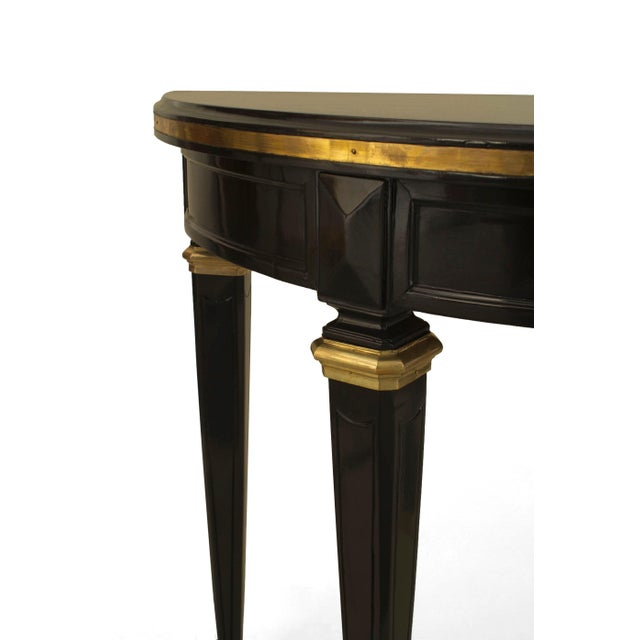 French Pair of French 1940s, Louis XVI Style Console Tables For Sale - Image 3 of 4