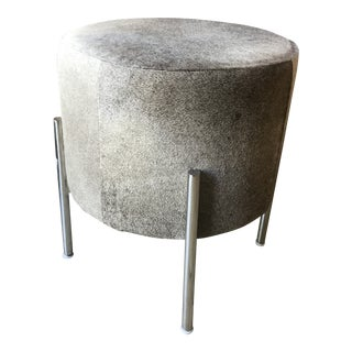 Stainless Steel Leg Grey Cowhide Stool For Sale