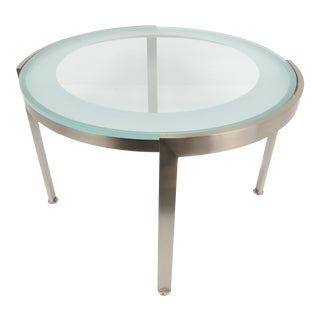 1970s Nicos Zographos Style Brushed Stainless Steel and Glass Side Table For Sale