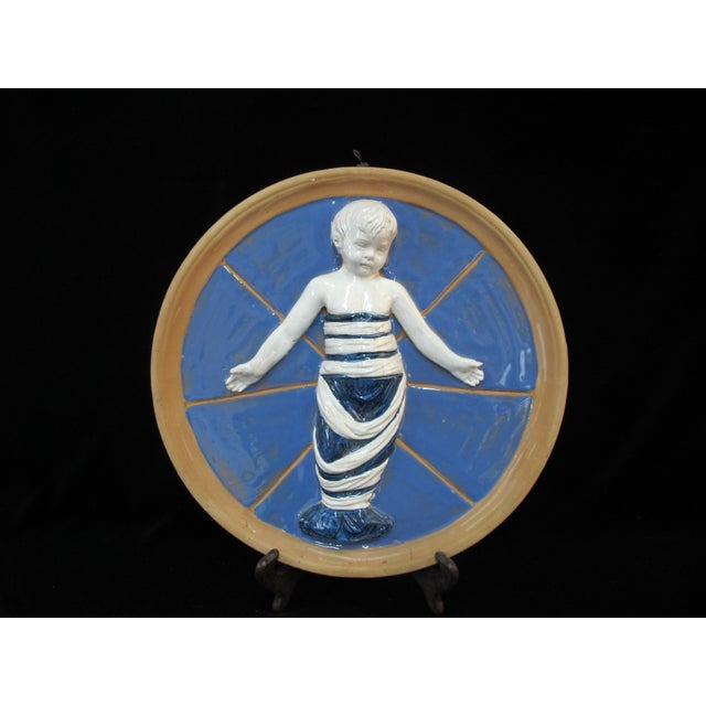 Mid 20th Century Italian Swaddled Baby Child Jesus Wall Pottery Medallion After Della Robbia For Sale - Image 5 of 5