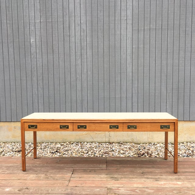 1960s Mid-Century Modern Gerry Zanck for Gregori Long Travertine Sofa/Console Table For Sale - Image 12 of 13