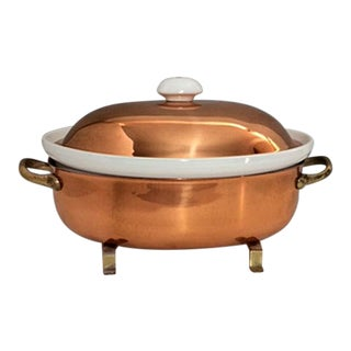 Vintage Copper & Brass Casserole With Ceramic Insert