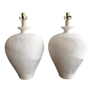 Pair Vintage Plaster Casual Lamp of California Incised Urn Table Lamps Signed For Sale