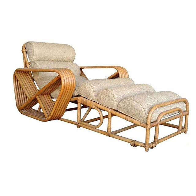 1950s Rare Restored Pair of Paul Frankl Rattan Chaise Lounge Chairs w/ Pretzel Arms For Sale - Image 5 of 5