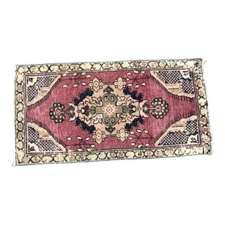 Vintage Turkish Anatolian Home Decor Red and Beige Small Rug For Sale