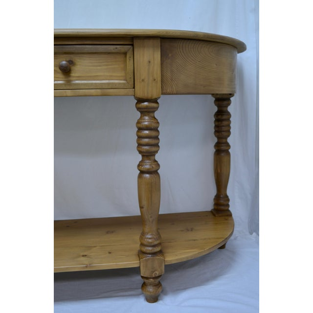 Brown Vintage English Style Pine D-End Server For Sale - Image 8 of 9