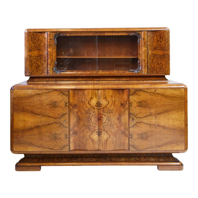 Art Deco Walnut Burl Wood Sideboard or Bar Cabinet For Sale