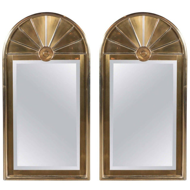 Pair of Mid-Centuy Modernist Arch Form Mirrors in Brushed Brass by Mastercraft - Image 6 of 6