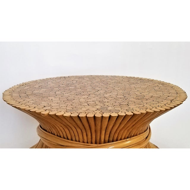 McGuire Vintage 1960s Rattan Wheat Sheaf Coffee Table by McGuire For Sale - Image 4 of 12