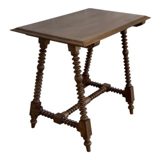19th Spanish Baroque Side Table With Wood Stretcher and Carved Top in Walnut For Sale
