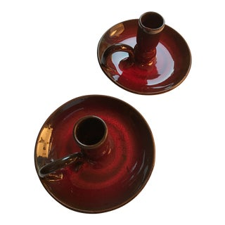 Oxblood Red Chamber Sticks - a Pair For Sale