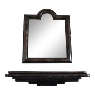 Goatskin Wall Mount Console and Mirror - 2 Pieces For Sale