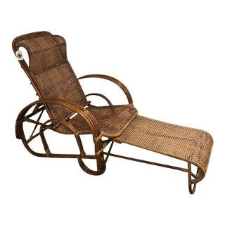 Vintage Boho Chic Rattan Lounger For Sale