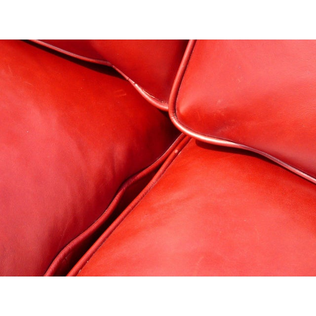 Designer Contemporary Red Leather Sofa - Image 11 of 11