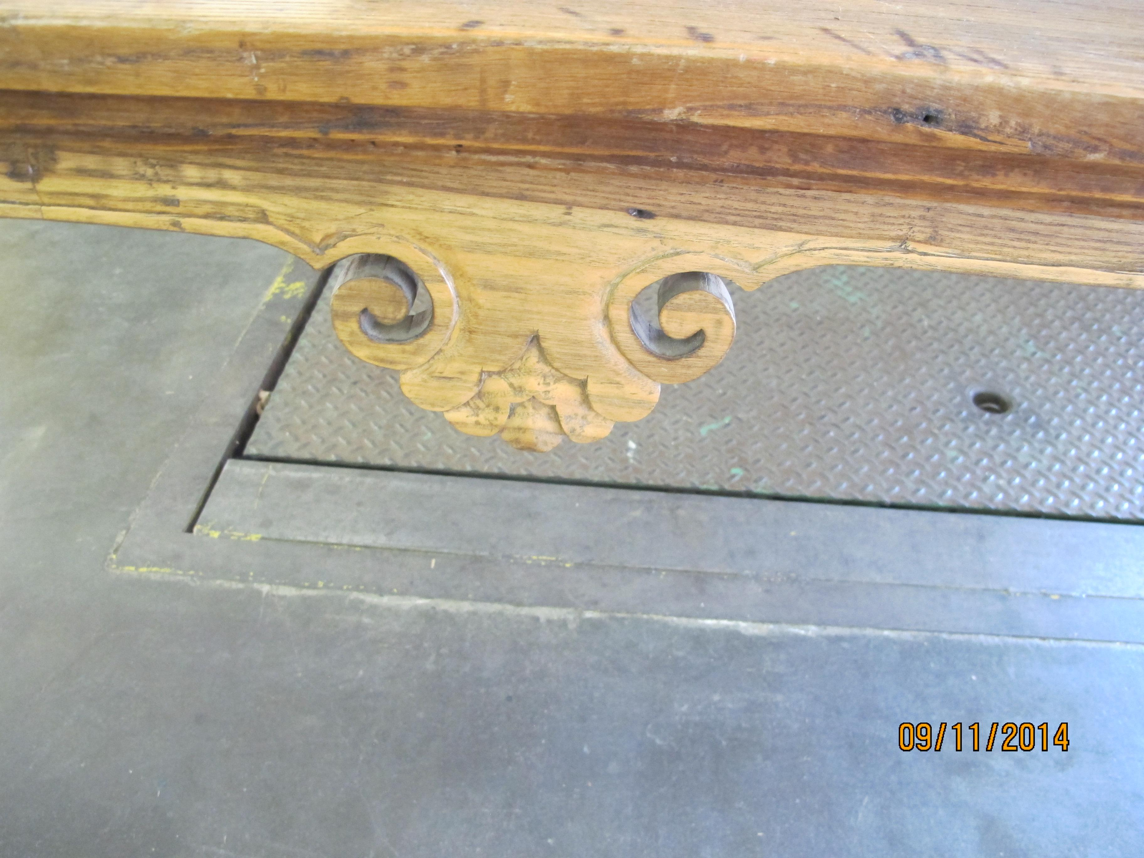 Asian Style 1900s Chinese Elmwood Console Table For Sale   Image 4 Of 6