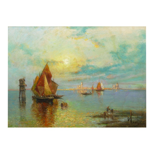 """""""View of Venice"""" Antique Oil Painting by Nicholas Briganti (American, 1861-1944) For Sale"""