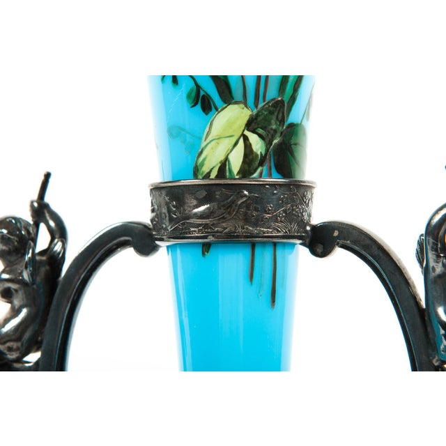 Mid 19th Century Mid 19th Century Antique Hand Painted Vase With Silver Plate Base Holder For Sale - Image 5 of 7