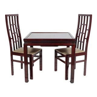 Retro/Mid-Century Chinoiserie Game Table With Gilt Embossed Top and Two Original Chairs For Sale