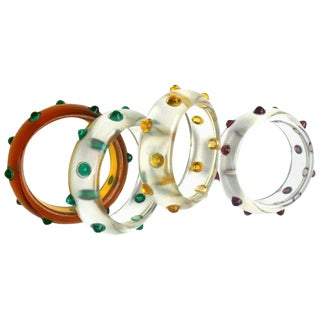 Vintage Bakelite and Lucite Cabochon Bangles For Sale