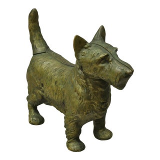 "Antique Solid Brass Bronze Victorian 11"" Scottie Scottish Terrier Dog Door Stop For Sale"
