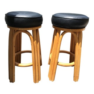 Bamboo Swivel Bar Stools - A Pair For Sale