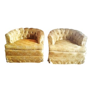 Gold Damask Barrel Back Chairs - A Pair