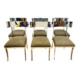 Image of Chrome Klismos Dining Chairs - Set of 6 For Sale