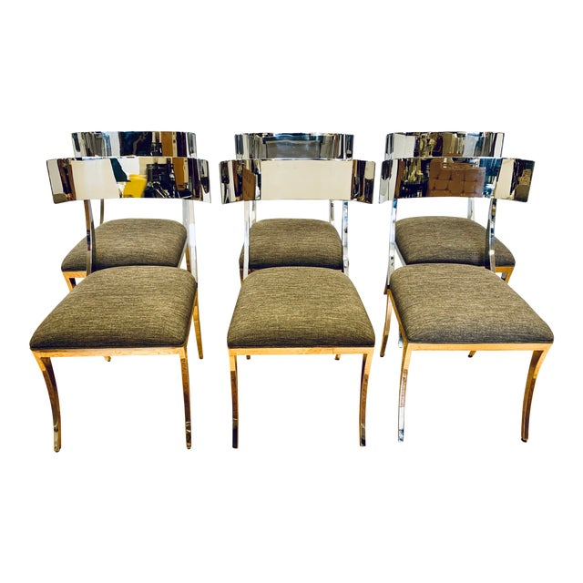 Chrome Klismos Dining Chairs - Set of 6 For Sale