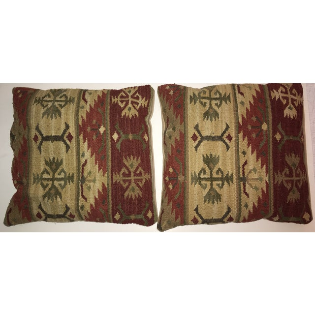 Feather Vintage Kilim Pillows - A Pair For Sale - Image 7 of 7