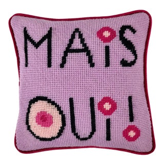 """Mais Oui!"" Wool Tapestry Needlepoint Pillow"