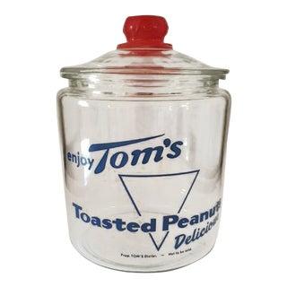 Tom's Toasted Peanuts Glass Advertising Jar