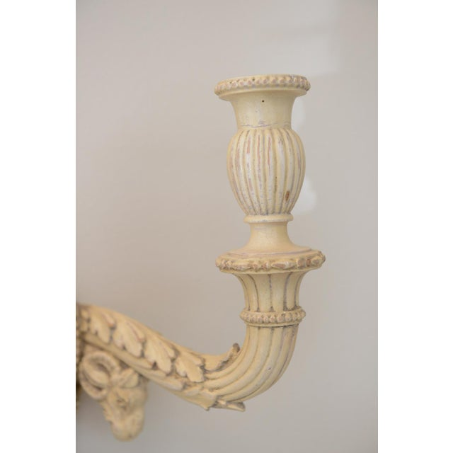Louis XVI Pair of 19th Century Carved Wood Sconces Centered by Wedgewood Bisque Plaques For Sale - Image 3 of 10